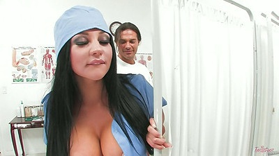 Audrey Bitoni in the office going down to suck and get fingered