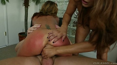 Red ass with Francesca Le and Sheena Shaw after rough anal spanking and blowjobs