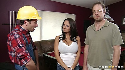 Milf Ava Addams likes her construction guy with husband watching