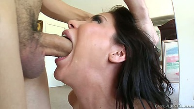 Aleksa Nicole gagging during rough deep throat