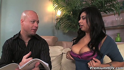 Big tits Michelle Rica showing off her tits in a bra and sucks dick