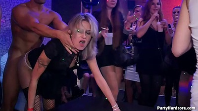 Doggy style standing party fuck with half dressed college bitch