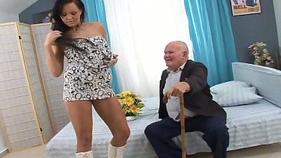 Undressing small tits Eliss Fire blowjob squatting