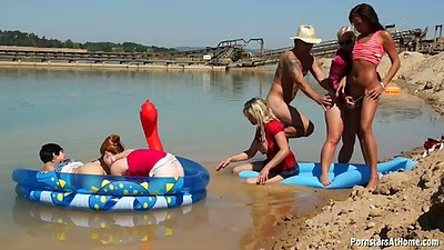 Beach fun with group of chicks Eliss Fire and Bibi Fox and Klarisa