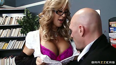 Bras and panties office bitch Brandi Love giving education