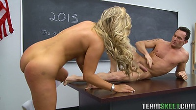 College Cameron Dee lays on teachers desk naked