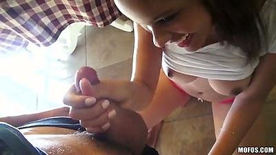 Sucking dick latina Aria Salazar on home video sex tape