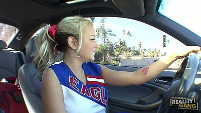College cheerleader Briana Blair going for a drive in public