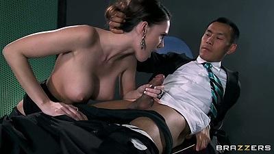 Handjob and big tits blowjob from secretary Jennifer Dark