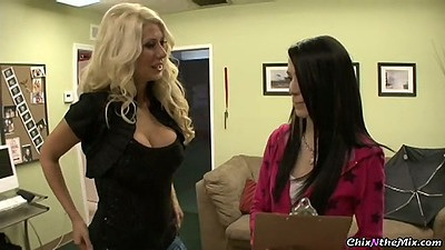 Fully clothed lesbian sluts chatting in office Jazy Berlin & Aiden Ashley