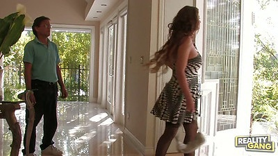 Fully clothed milf June Summers is an office slut whore
