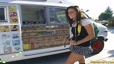 Public outdoor pick up with teen school girl Gracie