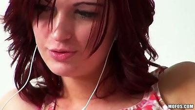 Teen amateur solo Alana Rains listenin to music masturbation
