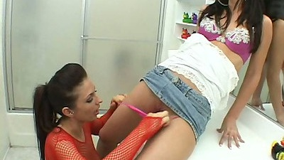 Mini skirt and fishnet fingering lesbian girls Franchezca & Malin Mandel on the sink