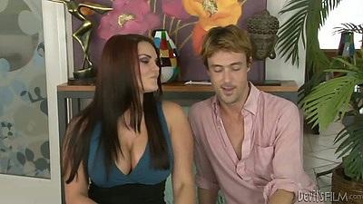 Redhead Mackenzee Pierce blowjob and strippign