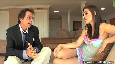 Lingerie brunette Gracie Glam chatting with old man