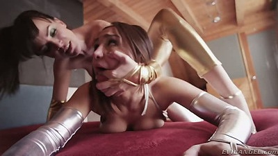 Rough lesbian natural tits action from Dana DeArmond and Gabriella Paltrova