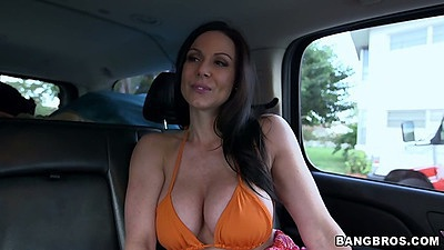 Busty Kendra Lust in the backseat then grinding on mans jeans