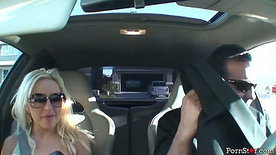 Driving in the front seat with sexy busty Savannah Gold