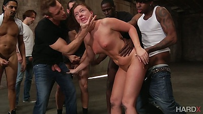 Gang bang standing fuck with cum covered face whore Maddy O