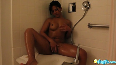 Shower up and masturbation from latina taking fingers in deep