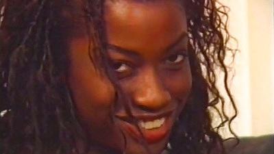Ebony solo Monique in sex red lingerie
