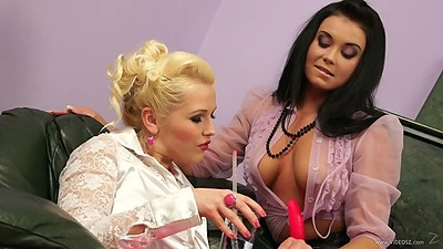 Half dressed lingerie lesbians Erin and her friend