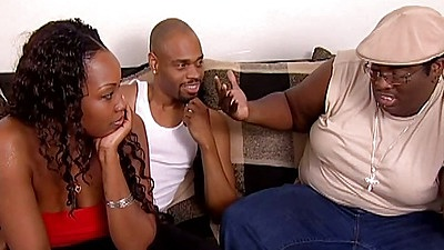 Fully clothed black girl and her friend Cha Cha and Angel Eyes in black orgy