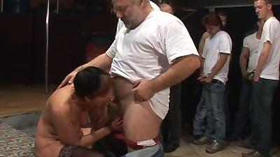 Group of men get a blowjob from mature grandma Cica in gang bang