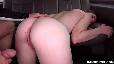 Petite Ryan Grey was jogging then picked up by bangbus for a quickie