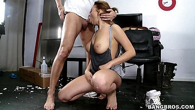 Blowjob with nice shaped breasts Marina Visconti in all natural