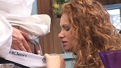 Latina redhead blowjob during diner