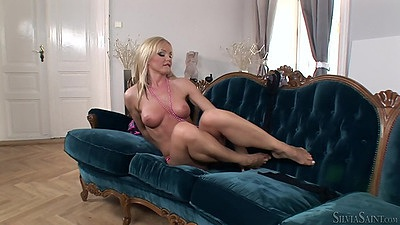 Naked girl loves her dildo with beauty blonde Silvia Saint