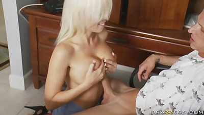 Blonde big gives a nice titty fuck