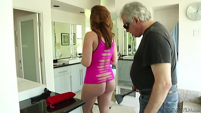 Small tits Maddy O and an older man in scene