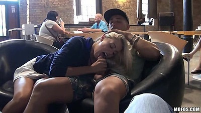 Public diner blowjob with Christen Courtney euro girl sucking it