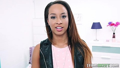 Young and sexy ebony teen gets tits squeezed Teanna Trump