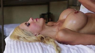 Big tits oil massage with pornstar lover Nina Elle