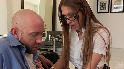 Older dude getting a piece of this young school girl in uniform Callie Calypso