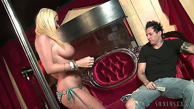 Big tits Sophie Dee is a stripper that teases dude