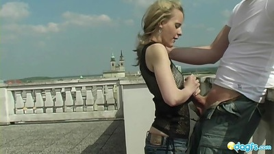 Handjob outdoors in public with euro whore doing deep throat on the root