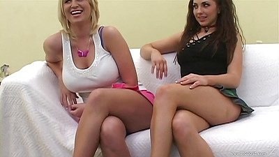 Madison James and Franchezca Valentina blonde and brunette in first time lesbian video