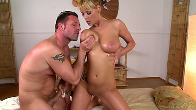 Puffy nips large and soft titty fuck with oil from Sheila Grant
