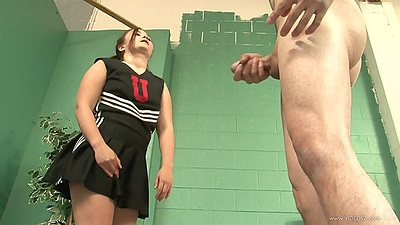 Teen in uniform Kita Zen looks at man jerking off