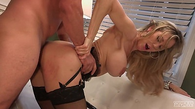 Doggy style with athletic looking blonde milf and open mouth cumshot Brandi Love